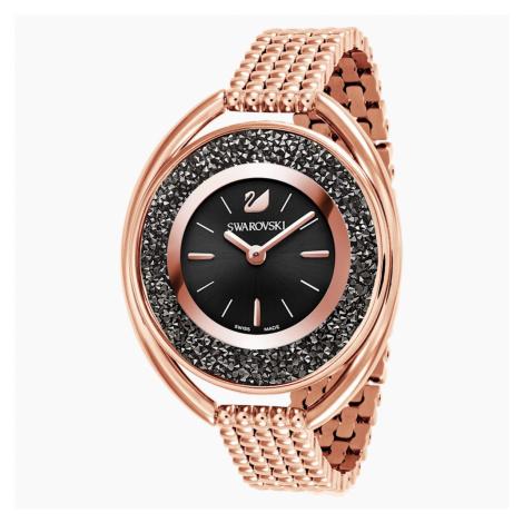 Crystalline Oval Watch, Metal bracelet, Black, Rose-gold tone PVD Swarovski
