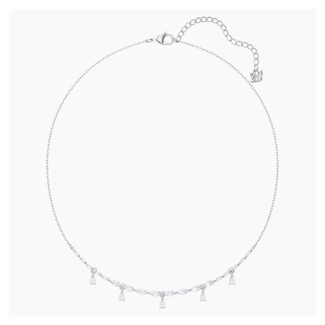 Louison Necklace, White, Rhodium plated Swarovski