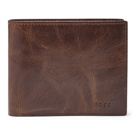 Fossil Men Derrick Rfid Large Coin Pocket Bifold Brown - One size