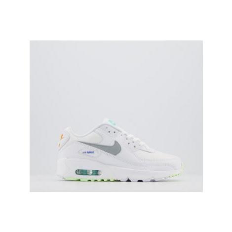 Nike Air Max 90 Gs WHITE SMOKE GREY LASER ORANGE AURORA SAPPHIRE