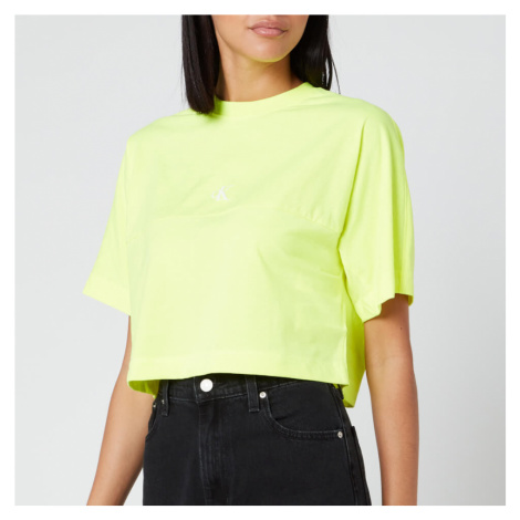 Calvin Klein Jeans Women's Puff Print Back Logo T-Shirt - Safety Yellow