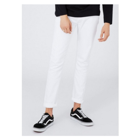 Mens White Stretch Skinny Jeans, White Topman