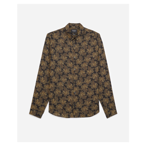 The Kooples - Printed black shirt with gold paisley motif - MEN