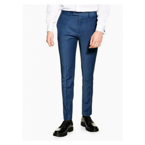 Mens Navy Skinny Fit Premium Check Suit Trousers, Navy Topman
