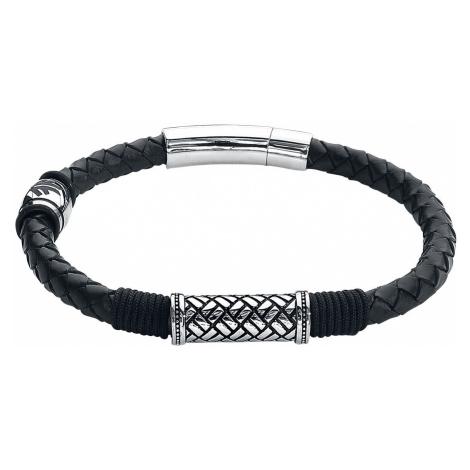 Amon Amarth Amon Amarth Logo Leather Bracelet black silver