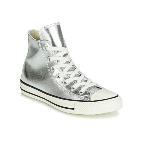 Converse CHUCK TAYLOR ALL STAR SHINY METAL HI women's Shoes (High-top Trainers) in Silver