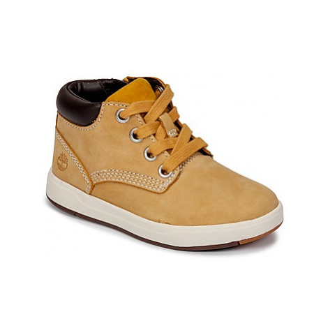 Timberland Davis Square Leather Chk girls's Children's Shoes (High-top Trainers) in Brown