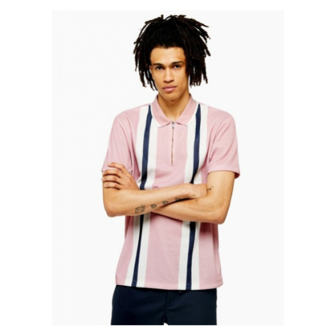 Mens Pink Pique Bowling Polo, Pink Topman