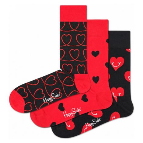 Happy Socks I Love You Set of 3 pairs of socks Black Red
