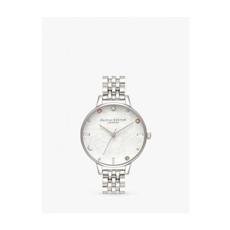 Olivia Burton OB16GD30 Women's Celestial Bracelet Strap Watch, Silver/White