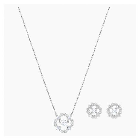 Sparkling Dance Flower Set, White, Rhodium plated Swarovski