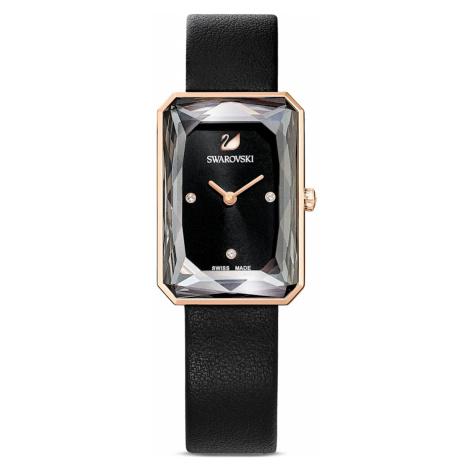 Uptown Watch, Leather strap, Black, Rose-gold tone PVD Swarovski