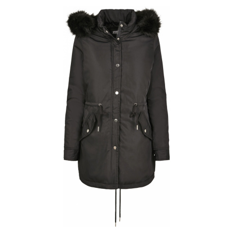 Urban Classics - Ladies Faux Fur Parka - Girls winter jacket - black