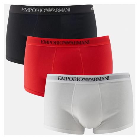 Emporio Armani Men's Pure Cotton 3 Pack Trunks - Bianco Rosso Nero - Multi