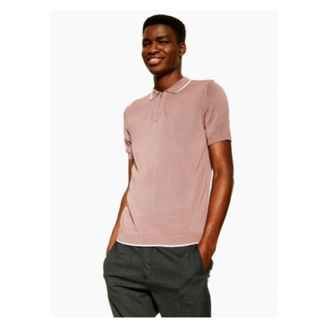 Mens Short Sleeve Pink Zip Polo, Pink Topman