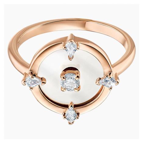 North Motif Ring, White, Rose-gold tone plated Swarovski