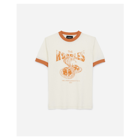 The Kooples - Ecru cotton T-shirt with orange snake motif - WOMEN