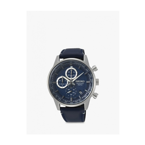 Seiko SSB333P1 Men's Chronograph Date Leather Strap Watch, Navy