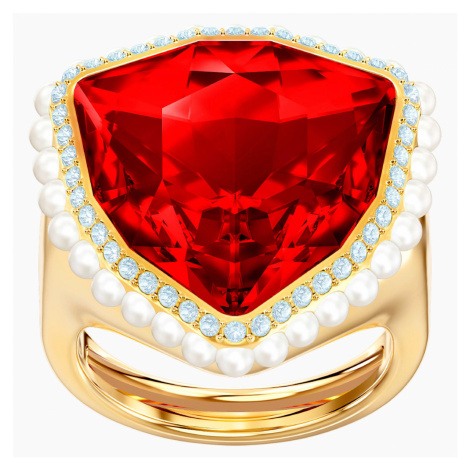 Lucky Goddess Cocktail Ring, Red, Gold-tone plated Swarovski