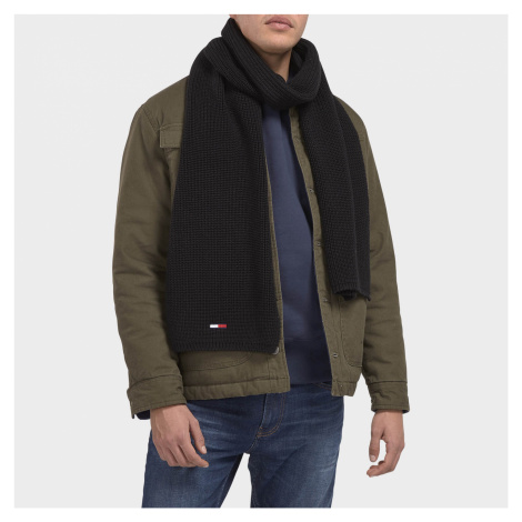 Tommy Jeans Men's Basic Flag Ribbed Scarf - Black Tommy Hilfiger