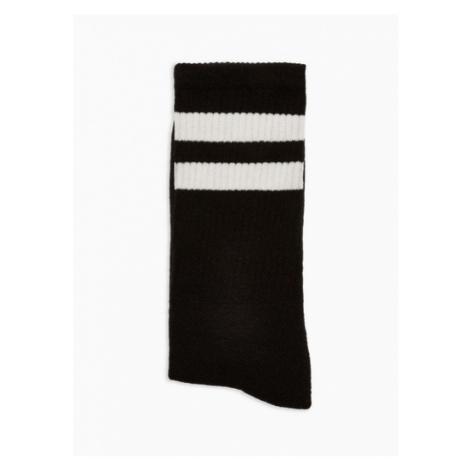 Mens Black And White Stripe Tube Socks, Black Topman