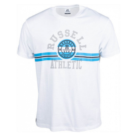 Russell Athletic COLLEGIATE STRIPE CREWNECK TEE SHIRT white - Men's Tee - Russell Athletic