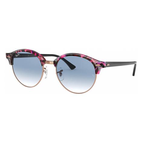 Ray-Ban Clubround fleck Unisex Sunglasses Lenses: Blue, Frame: Black - RB4246 12573F 51-19