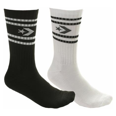 socks Converse Vintage Star Chevron Stripe Crew 2 Pack - E729A/White/Black - men´s