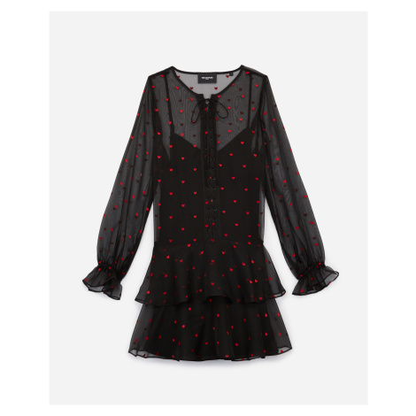 The Kooples - Short black dress with lacing and heart motif - WOMEN