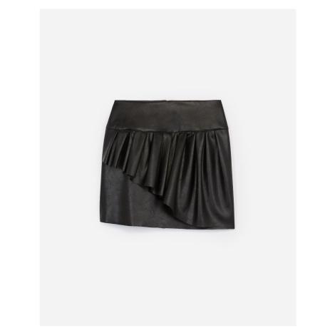 The Kooples - Black short imitation leather skirt w/frills - WOMEN