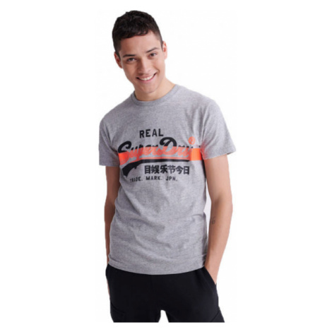 Superdry VL CROSS HATCH TEE grey - Men's T-Shirt