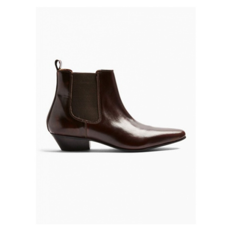 Mens Red Burgundy Leather Hendrix Chelsea Boots, Red Topman
