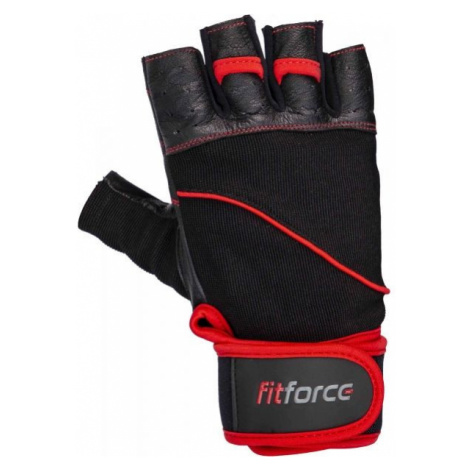Fitforce FERAL black - Leather fitness gloves