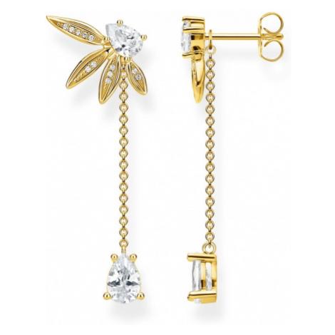 Thomas Sabo Jewellery Magic Garden Gold Leaf Drop Earrings H2105-414-14
