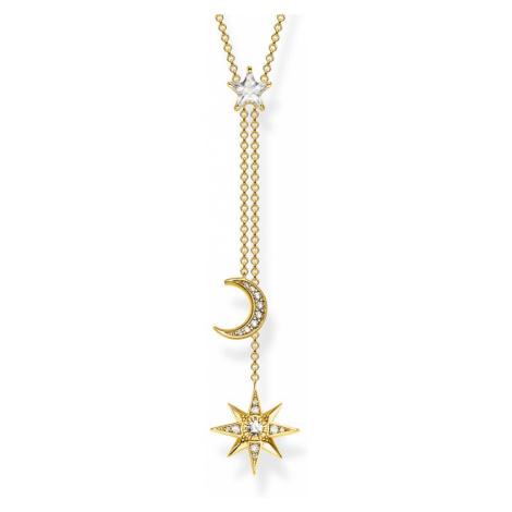 THOMAS SABO Star & Moon Gold Plated Silver Y Necklace