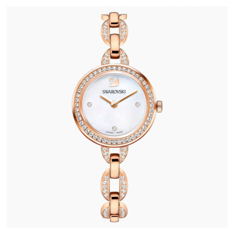 Aila Mini Watch, Metal bracelet, Rose-gold tone PVD Swarovski