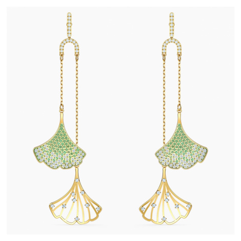 Stunning Ginko Mobile Pierced Earrings, Green, Gold-tone plated Swarovski