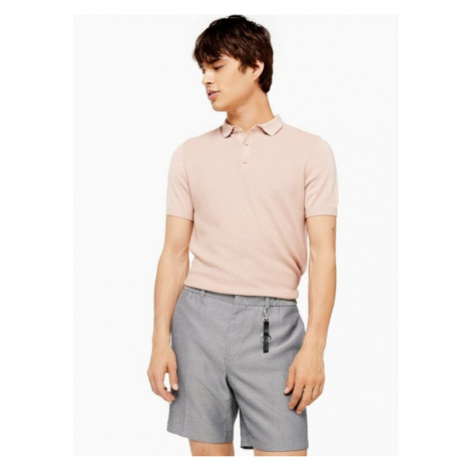 Mens Pink Short Sleeve Button Knitted Polo, Pink Topman