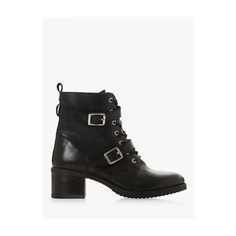 Dune Paxtone Buckle Lace Ankle Boots, Black Leather