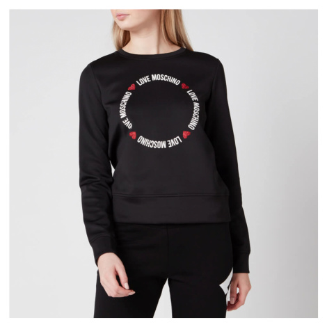 Love Moschino Women's Round Logo Sweatshirt - Black - IT 46/ UK14