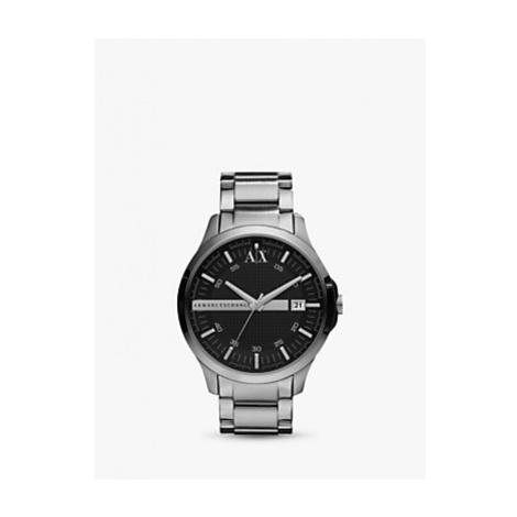 Armani Exchange Men's Date Bracelet Strap Watch, Silver/Black AX2103