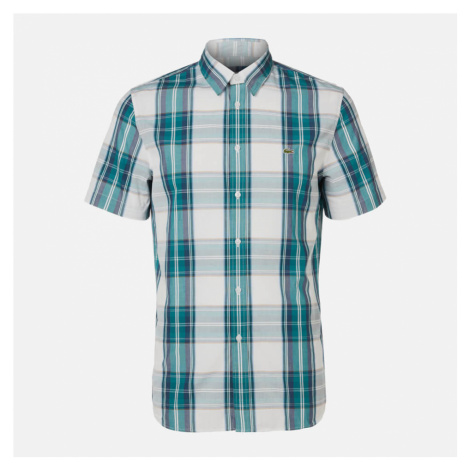 Lacoste Men's Short Sleeve Check Shirt - Green Navy/White - XXL/EU 43