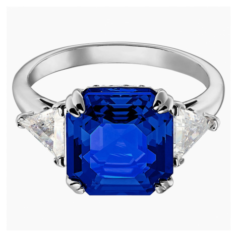 Attract Cocktail Ring, Blue, Rhodium plated Swarovski