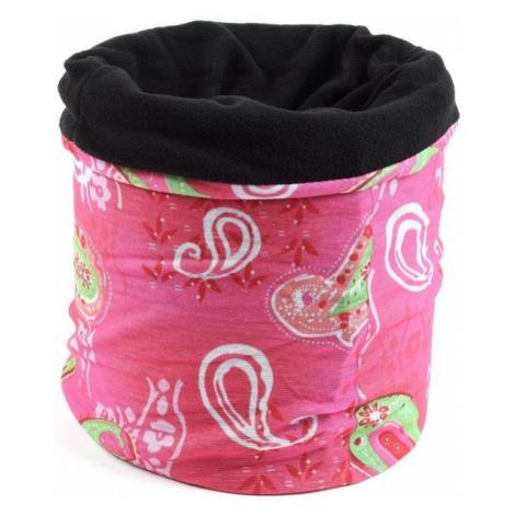Finmark CHILDREN'S MULTIFUNCTIONAL SCARF pink - Children's multifunctional scarf with fleece