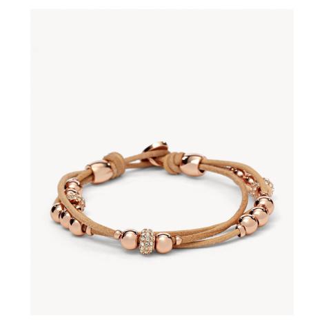 Fossil Women's Rondel Wrist Wrap - Beige Brown Rose Gold