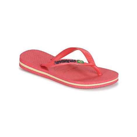 Havaianas KIDS SLIM BRASIL LOGO girls's Children's Flip flops / Sandals in Pink