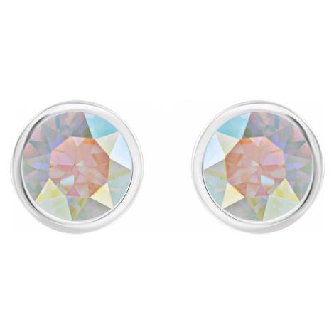 Solitaire Pierced Earrings, Multi-coloured, Rhodium plated Swarovski