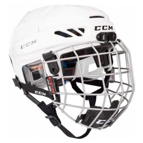 CCM FITLITE 3DS COMBO JR white - Kids' hockey helmet