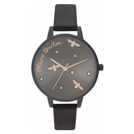 Ladies Olivia Burton Matte Black & Rose Gold Watch