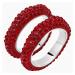 Tigris Stacking Ring, Red, Palladium plated